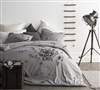 Petals Handsewn gray duvet cover King XL - Cozy soft comforter set King oversized in gray