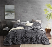 Knots - Handcrafted Texture soft King Comforter - Oversized King XL comforter set dark gray