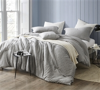 Cozy 100% Yarn Dyed Cotton King Oversize Comforter Designer Highlands Gray Stylish and Soft King Bedding