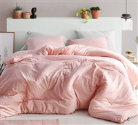 Stylish Highlands Coral Pink Designer King Oversize Comforter 100% Yarn Dyed Soft Cotton King Bedding