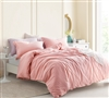 Fashionable Oversized King Designer Duvet Cover Cozy Yarn Dyed Cotton Highlands Coral Pink One of a Kind King XL Bedding