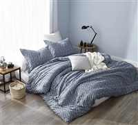 Navy Blue King Oversize Duvet Cover with Unique Designer Pattern Navy Slate True Oversized King Yarn Dyed Cotton Bedding