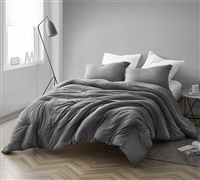 Extra Large Queen Comforter Designer Gray Depths 100% Yarn Dyed Cotton Gray Queen XL Bedding