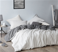 Black and White King Bedding Decor Designer Contrarian Essential King Oversize Duvet Cover Made with Soft 100% Cotton
