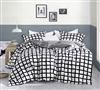 Chroma - Black and White - Oversized Queen Duvet Cover - 100% Cotton Bedding