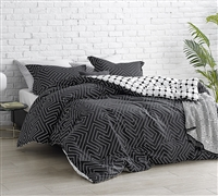 Route - Black and White - Oversized King Comforter - 100% Cotton Bedding
