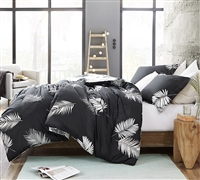 Must Have Queen Oversize Tropical Bedding Decor Most Comfortable Cotton Comforter with Black and White Palms Pattern