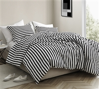 Onyx Black and White Striped - Oversized Queen Comforter - 100% Cotton Bedding
