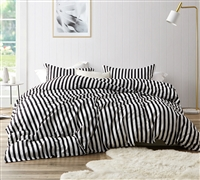 Onyx Black and White Striped - Oversized King Duvet Cover - 100% Cotton Bedding
