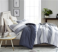 Blue and White King XL Comforter with One of a Kind Karst Stripes Design Super Soft Cotton King Bedding
