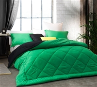 Softest Queen Size Comforter Sets in Kelly Green and Black Reversible - Cozy Soft Comforter