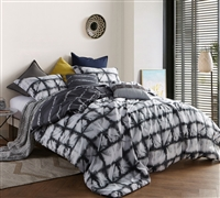 Complete Gray Tie Dye King Bedding Set Stylish Zavi Gray Oversized King XL Comforter with Pillows and Shams