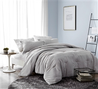 Macha Dark Gray - Yarn Dyed Stripes Oversized Twin Comforter