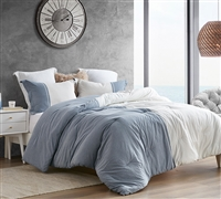 Half Moon - Blue and Ivory - Yarn Dyed Oversized Twin Comforter
