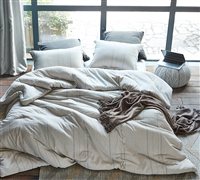 Tigran Beige Yarn Dyed Stripe Oversized Twin Comforter