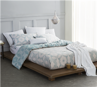 One of a Kind Queen Oversized Comforter Teal and White Modena Intricate Pattern Soft Queen Cotton Sateen Bedding