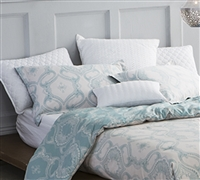 Thick Queen size bedding sham set - Reactive Printing Blue pillow shams sized Queen