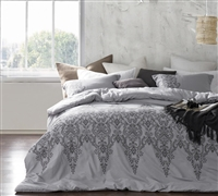 Baroque Stitch - Queen Comforter - Oversized Queen XL - Alloy/Pewter Embroidery