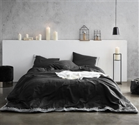 Oversized King XL Comforter Beautiful Embroidered Black Endless Fields High Quality King Oversize Bedding