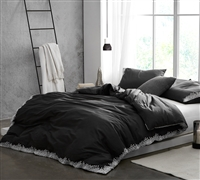 Endless Fields Embroidered King Duvet Cover - Oversized King XL - Carbon Black