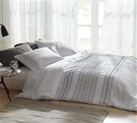 Cambria Stitch Embroidered Twin Duvet Cover - Oversized Twin XL - White