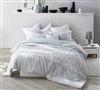 White Lace King Comforter - Oversized King XL - Glacier Gray