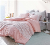 White Lace King Duvet Cover - Oversized King XL - Rose Quartz