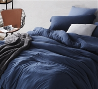 Blue Comforter for Queen Sized Bed Stylish Nightfall Navy Bare Bottom Cozy Queen Oversize Bedding