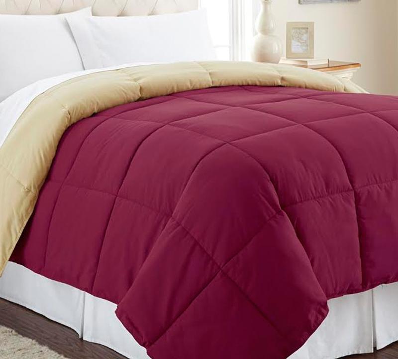 Down Alternative Reversible Comforter Antique Gold Cranberry