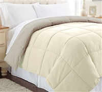 Down Alternative Reversible Comforter - Almond/Taupe Queen Comforter - Oversized Queen XL Bedding