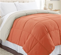 Down Alternative Reversible Comforter - Burnt Orange/Oatmeal Queen Comforter - Oversized Queen XL Bedding