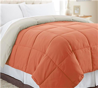 Cozy soft Twin XL size Comforter set - Burnt Orange and Oatmeal comforters