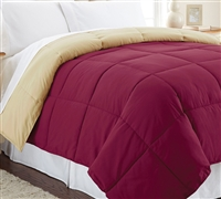 Down Alternative Reversible Comforter - Gold/Burgundy Queen Comforter - Oversized Queen XL Bedding