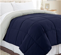 Soft oversize Bedding Comforter Twin size Midnight Blue and Silver - Alternative Reversible Comforter