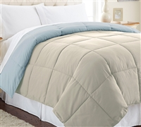 Down Alternative Reversible Comforter - Oatmeal/Smoke Blue Queen Comforter - Oversized Queen XL Bedding