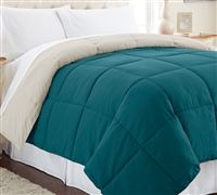 Down Alternative Reversible Comforter - Teal/Oatmeal Queen Comforter - Oversized Queen XL Bedding
