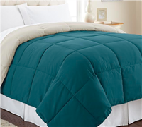 Down Alternative Reversible Comforter - Teal/Oatmeal