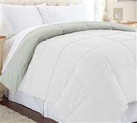 Down Alternative Reversible Comforter - White/Gray Queen Comforter - Oversized Queen XL Bedding