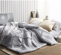 Stylish Centric Ruffles Handcrafted Series King XL Bedding Glacier Gray Oversized King Comforter