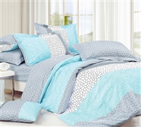 Dove Aqua Blue XL Full Comforter Sets - Decorative Light Blue Oversized Full Bedding Sets