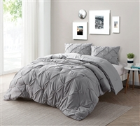 Alloy Pin Tuck Bedding King XL - Oversized King Comforter Sets - Alloy Gray