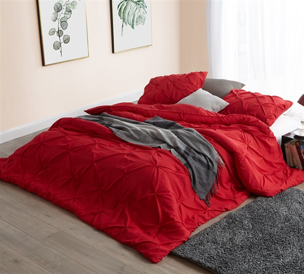 Cherry Red Pin Tuck King Comforter - Oversized King XL Bedding