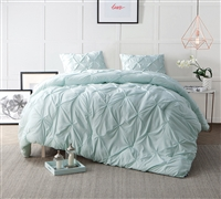 Hint of Mint Pin Tuck Bedding Comforter Sets Twin XL - Soft Oversized Twin Comforter Sets