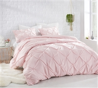 Unique Twin Extra Long Bedding Pretty Rose Quartz Twin XL Oversized Comforter with Pin Tuck Design