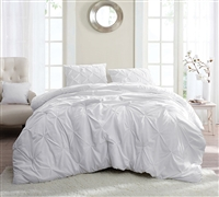 White Pin Tuck Twin XL Comforter - Oversize Twin Bedding Comforter - Comforter Sets On Sale
