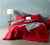 Cherry Red/Granite Gray Full Comforter - Oversized Full XL Bedding