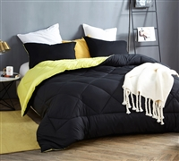 Reversible Black and Limelight Yellow King Oversize Comforter Affordable Luxurious Soft King Bedding