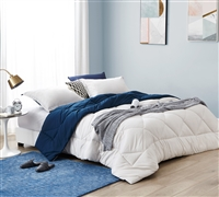 Essential Reversible Extra Large King Comforter Stylish Off White and Navy Blue Jet Stream/Nightfall Navy Microfiber King Bedding