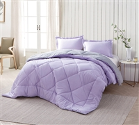 Style And Qualty Microfiber - Orchid Petal/Alloy King Comforter - King Size Bedding
