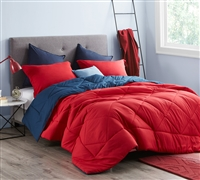 Cherry Red/Nightfall Navy King Comforter - Oversized King XL Bedding